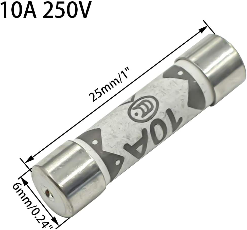 Hxchen 10Pcs 1A 250V Ceramic Fuse 6x25mm Cartridge Fast Blow Tube for Power Strip Experiment Circuit Appliance Repair