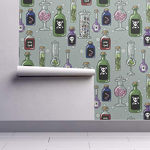 Peel-and-Stick Removable Wallpaper - Poison Halloween Spooky Bottles Mad Scientist Fabric Halloween Witch by Amber Morgan - 24in x 144in Woven Textured Peel-and-Stick Removable Wallpaper Roll