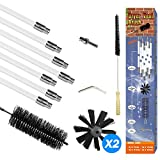 Dryer Vent Cleaning Kit 24 Feet Flexible Drill Powered Rotating Duct Lint Remover Synthetic Brush Head Quick Snap Locking Rods,Includes Extra Brush Head (24ft)