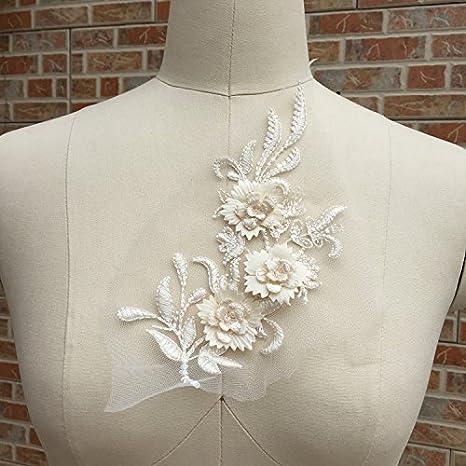 Vestido de Boda Apliques De Bordado De Novia Adorno Encaje Floral Accesorios 1 Par