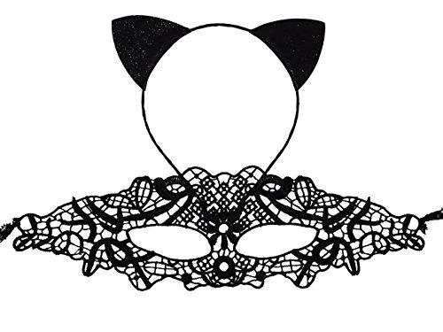 Bonnie Z. Leonardo Cat Ears Headband Lace Mask-a (Masquerade Maska)