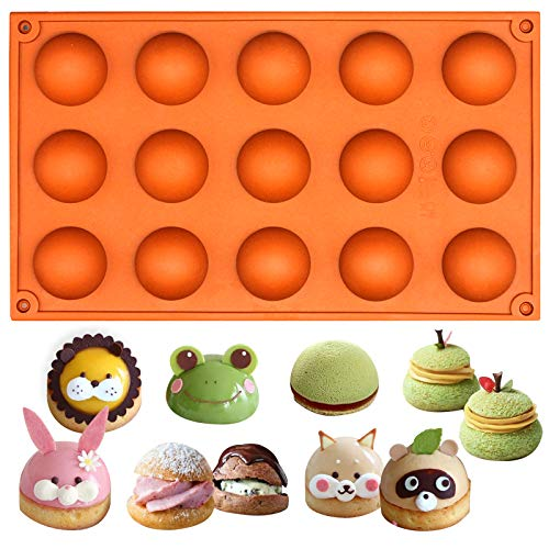 Truffle Chocolate Mold - Funshowcase 15 Cavity Semi Sphere Half Round Dome Silicone Mold Chocolate Teacake Baking Tray
