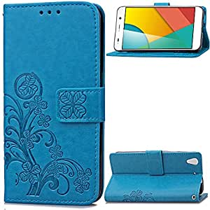 MOONCASE Huawei Honor 4A / Huawei Y6 Funda Billetera Patrón del trébol Carcasa Cuero Tapa para Huawei Honor 4A / Huawei Y6 Bookstyle [Card Slot] Choque Absorción TPU Case con Soporte Plegable Azul