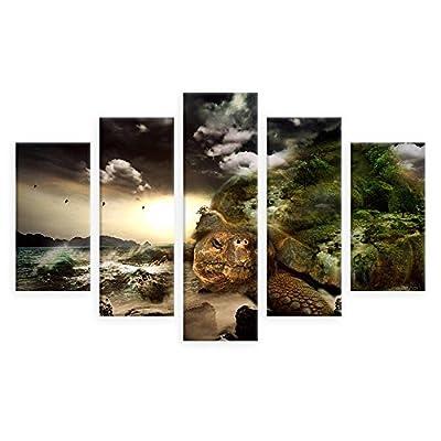 Alonline Art Digital Art Evil Turtle by Split 5 Panels | Framed Picture Poster | Ready to Hang Frame | Printed on Canvas