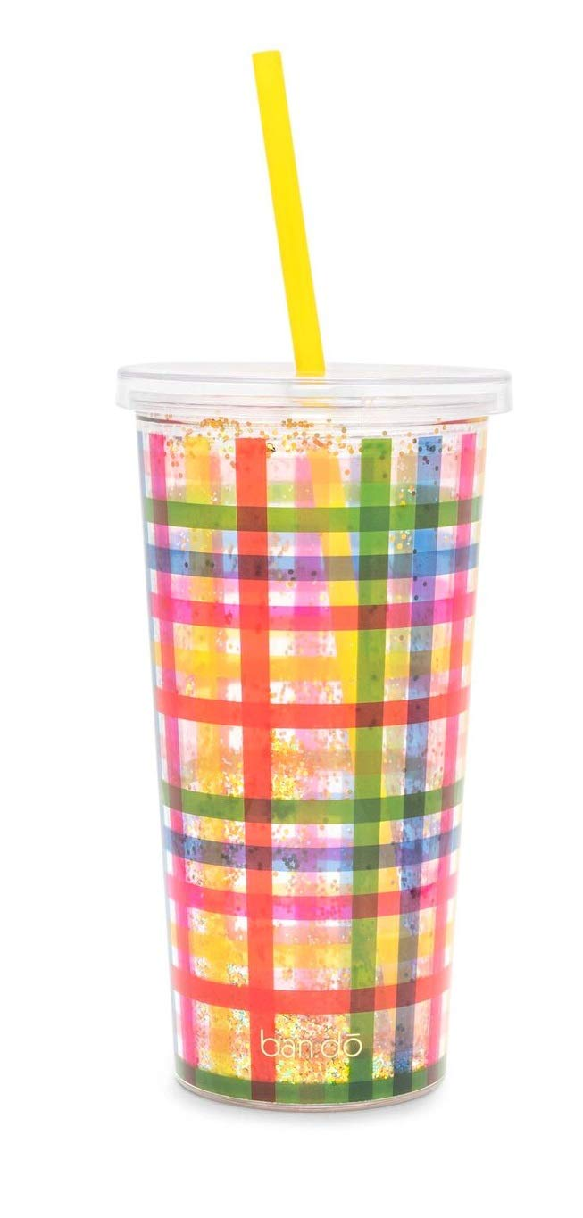 Plaid One Size ban.do Womens Glitter Block Party Tumbler