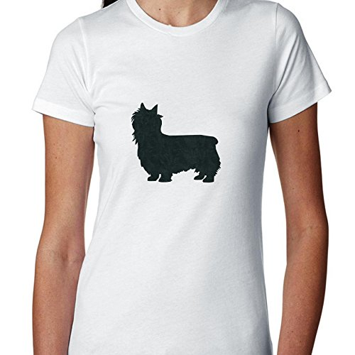 Silky Terrier Dog Simple Silhouette 100% Women's Cotton T-Shirt
