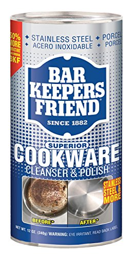 Bar Keepers Friend Superior Cookware Cleanser & Polish | 12-Ounces | 1-Unit Burnt Stainless Steel Pot