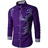 Classic Men's Casual Print Dress Shirts Long Sleeves Casual Button Down Patchwork Plain Slim Fit Color Tops (M, Purple)