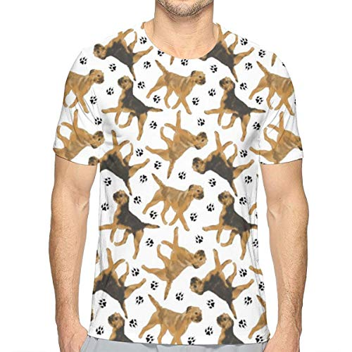 TNIJWMG Trotting Border Terriers Men's Short Sleeve T-Shirt