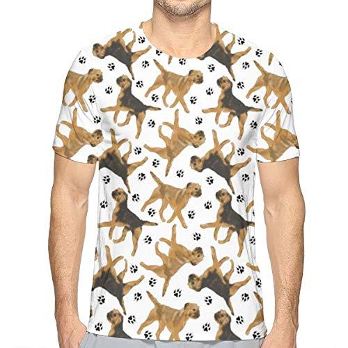 TNIJWMG Trotting Border Terriers Men's Short Sleeve T-Shirt White ()