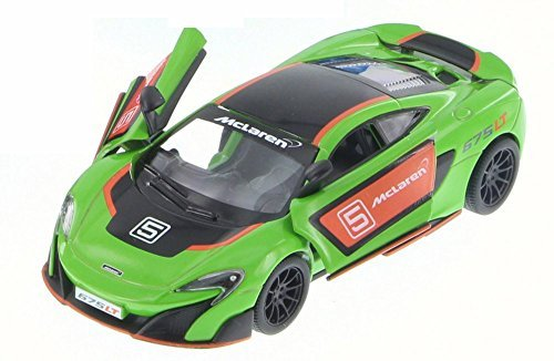 McLaren 675LT with Prints, Green w/ Decals - Kinsmart 5392DF - 1/36 Scale Diecast Model Toy Car (Brand New but NO BOX) -