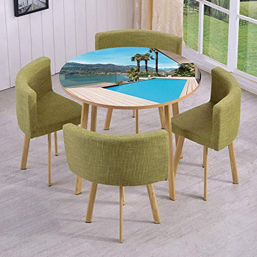 Tablecloth Triangles Pool (iPrint Round Table/Wall/Floor Decal Strikers/Removable/Modern House Beautiful Patio with Pool Outdoor Wooden Deck Timber Residence/for Living Room/Kitchens/Office Decoration)