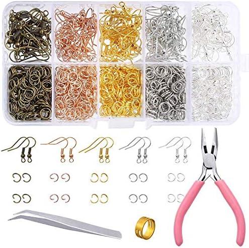 Jcevium Juego de 1128 piezas para la fabricación de pendientes con ganchos de oreja, anillos de flexión, pinzas, pinzas y anillo de flexión, para hacer y reparar pendientes.