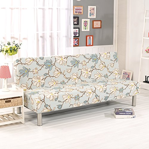 - WATTA Futon Cover Slipcover Couch with Twin Flower Printing, Polyester Spandex stretch Bed Cover Replacement,Futon Mattress Cover, Futon mattress protector - 51