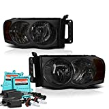 05 dodge hid - VIPMotoZ 2002-2005 Dodge RAM 1500 2500 3500 Headlights - Built In Xenon HID Low Beam, Metallic Chrome Housing, Smoke Lens, Driver and Passenger Side