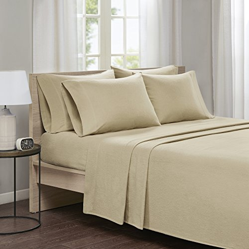100% Cotton Flannel Sheets Set - Ultra Soft Solid Cal King Bed Sheet With Deep Pocket - Tan Bedding Sets 6 Pieces [ 1 Fitted Sheet,1 Flat Sheet, and 4 Pillow Cases ] Cal King Size Sheets Microfiber Solid King Sheet Set
