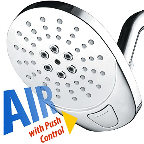 AirJet-400 High Pressure Luxury Multi-Function Shower Head w/ High-Velocity Flow Accelerator(TM) Hydro-Engine for More Power with Less Water! Latest Style, Giant 5