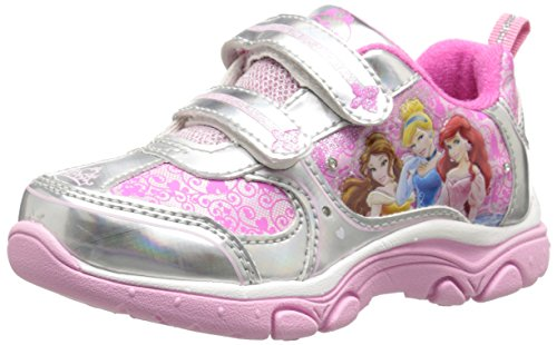 Disney Princess Light-Up  Sneaker, Pink/Silver, 10 M US Toddler (Princess Shoes For Toddlers)