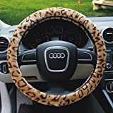 Bao Core Fashion Leopard Plush Stretch-On Vehicle Steering Wheel Cover Car Wheel Protector Decoration (Coffee)