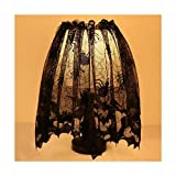Black Lace Halloween Fireplace Lamp Shades Spider Web Fireplace Mantle Scarf by Turner's Merchant House