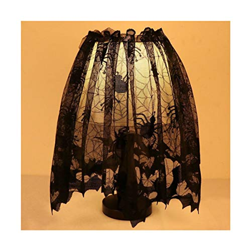 Black Lace Halloween Fireplace Lamp Shades Spider Web Fireplace Mantle Scarf by Turner's Merchant House by Turner's Merchant House