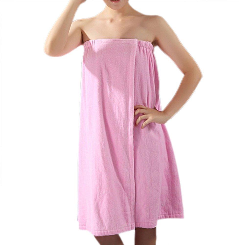 TopTie Women's Cotton Terry Spa Shower Bath Towel Wrap TOWX-DP60201_BLUE-SM