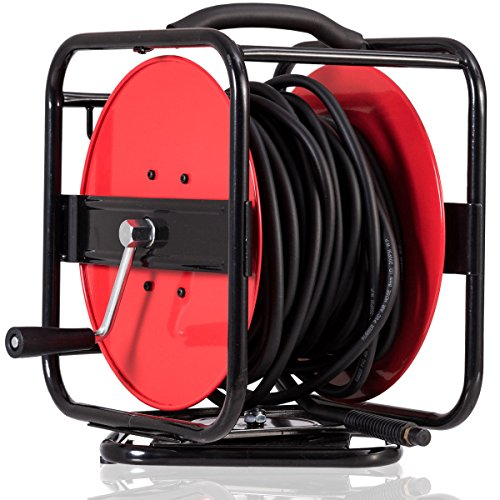 Goplus Air Hose Reel Hand Crank Retractable 5/16in by 100ft Hose Metal Construction, Hybrid Hose, 300PSI