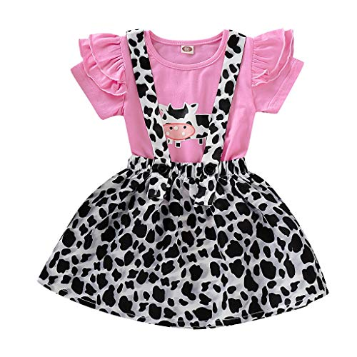 Kingspinner Baby Girls Summer Cute Cartoon Cow Print T-Shirt+Leopard Print Suspender Skirt Overall Outfits Set (Pink, 18-24 Months)