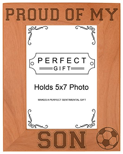 (Soccer Dad Mom Gift Proud of my Son Sports Natural Wood Engraved 5x7 Portrait Picture Frame Wood)