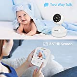 """Video Baby Monitor with Camera, HD Night Vision, Two-Way Talk, Remote Pan&Tilt Camera and 3.5inch HD IPS Screen. (White, 3.5"""")"""