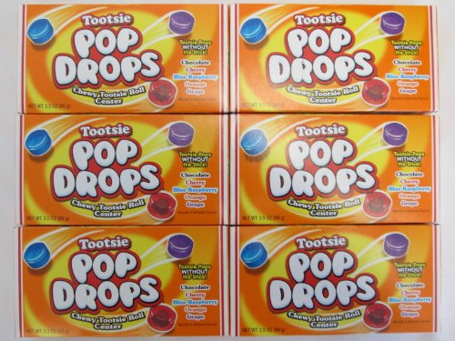 Tootsie Pop Drops Chewy Tootsie Roll Center: Chocolate, Cherry, Blue Raspberry, Orange, Grape Naturally & Artificially Flavored - 6 Pack of 3.5 Oz Boxes (Cherry Tootsie Roll Pops)