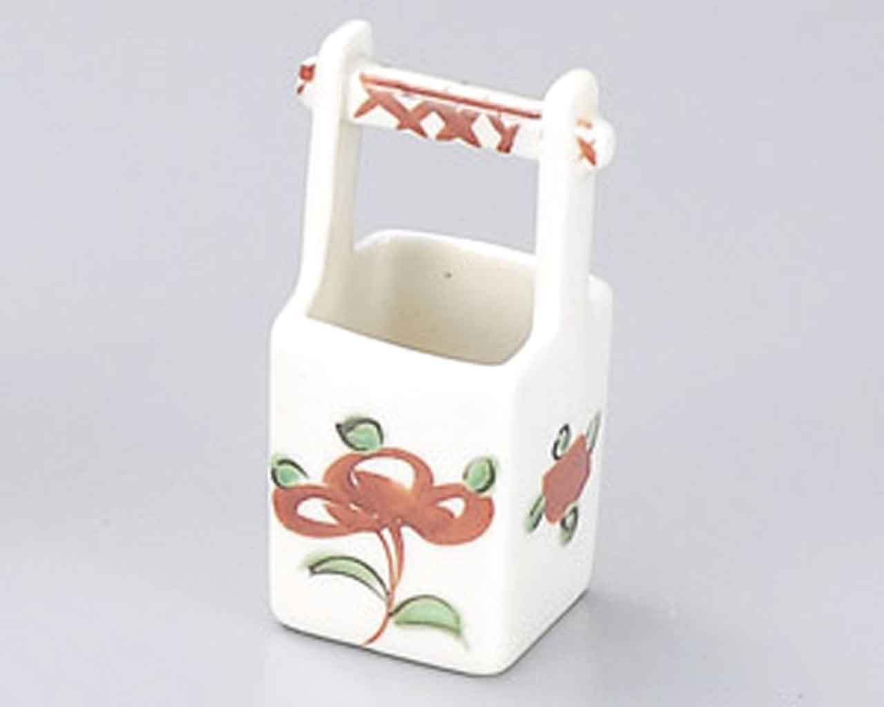 Akae Flower 1.9inch Set of 2 Toothpick holders White porcelain Made in Japan