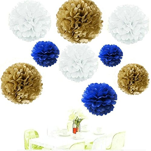Amazon since18pcs of 8 10 14 3 colors mixed gold white amazon since18pcs of 8 10 14 3 colors mixed gold white royal blue tissue paper flowers tissue paper pom poms wedding party decorpom pom flowers solutioingenieria Image collections