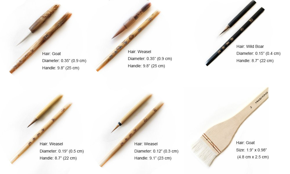 Pebble Art 6 PCS Professional Weasel Goat Wild Boar Hairs Watercolor Paint Brushes Chinese Japanese Calligraphy Sumi Brushes