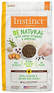Instinct Be Natural Real Chicken & Brown Rice Recipe Natural Dry Dog Food by Nature's Variety, 4.5 lb. Bag
