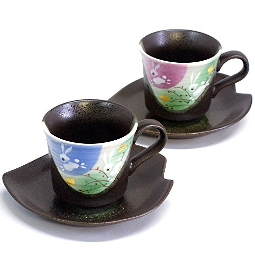 (JAPANESE Kutani Pottery Jumping Rabbit Pair coffee K4-1008 Made in Japan ...)