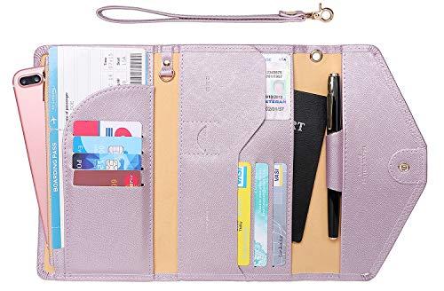 Zoppen Passport Holder Travel Wallet (Ver.5) for Women Rfid Blocking Multi-purpose Passport Cover Document Organizer Strap, Light Purple ()
