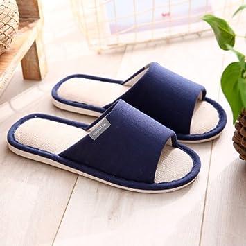 Pantuflas para suelos interiores femeninas japonesas zapatillas ropa de verano casa de estancia con fondo blando antideslizante zapatillas, Marina,42-43 Código [para 41-42 Calzado-: Amazon.es: Hogar