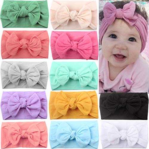 (12 Colors Super Stretchy Soft Knot Baby Girl Headbands with Hair Bows Head Wrap For Newborn Baby Girls Infant Toddlers Kids)