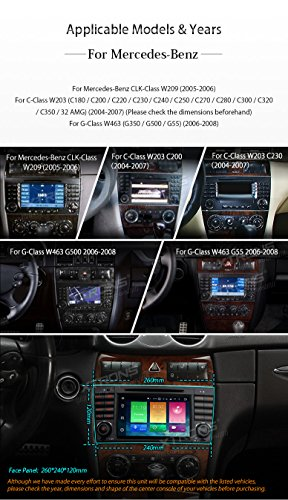 XTRONS Android 6.0 Octa-Core 64Bit 7 Inch Capacitive Touch Screen Car Stereo Radio DVD Player GPS CANbus Screen Mirroring Function OBD2 Tire Pressure Monitoring for Mercedes Benz W203 W209 by XTRONS (Image #2)