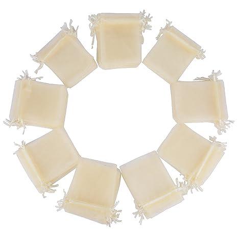100pcs Bolsas Bolsitas de Organza 10x12cm para Joyas Caramelo Dulces Regalo Recuerdo Favores Detalles de Boda (Marfil)