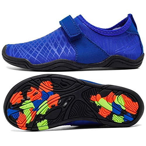 AMAWEI Kids Water Shoes for Boys Girls,Mens Womens Garden Shoes Quick Dry Beach Swim Sports Aqua Shoes for Pool Surfing Walking (35,M02.R.Blue)