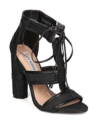 Women Denim Caged Block Heel Sandal - Dressy, Costume, Party - Cutout Chunky Heel - GD20 By Cape Robbin - Black (Size: (Creative Cute Women Halloween Costumes)