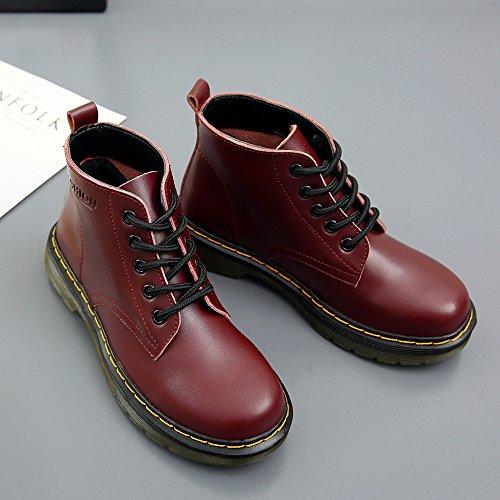 SITAILE Damen Leder Stiefel Winter Boots Gefüttert Klassischer Kurzschaft Stiefeletten Flache Schuhe Sneakers Freizeit Derby Wasserdicht Neuer Stil (38 EU, Gefüttert-Braun)