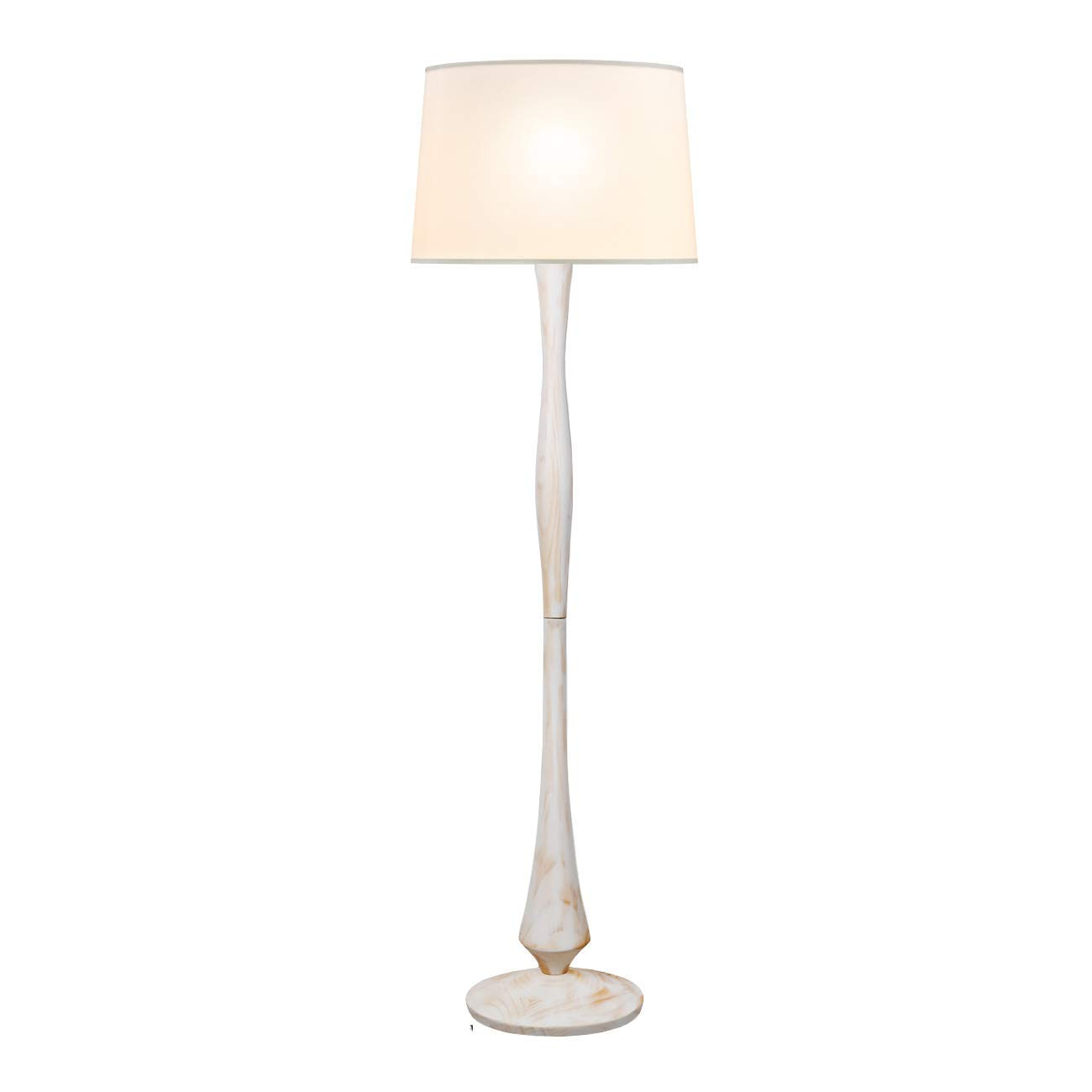tomons White Washed Wood Floor Lamp with 8W LED Lamp for Bedroom Components Other FL2001US-W