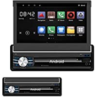 Yody Single Din Android In Dash Car Stereo with Bluetooth 7 Inch HD Touch Screen,Support WiFi,GPS/Navigation,Mirror Link,USB/SD/AUX/AM/FM Car Radio,Backup Camera,Microphone,wireless remote