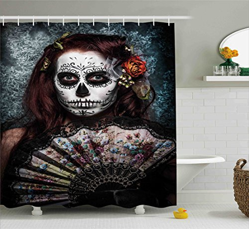 [Day Of The Dead Decor Shower Curtain by Ambesonne, Make up Artist Girl with Dead Skull Scary Mask Roses Print, Fabric Bathroom Decor Set with Hooks, 70 Inches, Cadet Blue] (Day Of The Dead Female Mask)