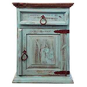 Handscrape Rustic Western Country Nightstand End Table Already Assembled (Right Hinged, Aqua)