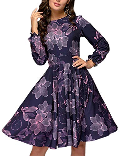 Simple Flavor Women's Floral Vintage Cocktail Swing Dress Ruffle Sleeve(Purple,2XL)