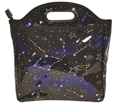 (iscream Holographic Constellations Easy Carry, Easy Clean Lined Insulated Lunch Tote )